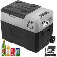 Portable Fridge Freezer Trolley Wheel Digital Panel 52QT Home Picnic Camp Cooler