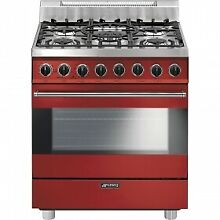 Smeg C30GGRU 30 Inch Freestanding All Gas Range with Convection Oven in RED