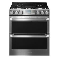 New Scratch Dent LG Signature Stainless Slide In Range   Double Oven LUTD4919SN