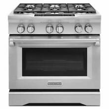 36  KitchenAid 5 1 Cu  Ft Stainless Steel Dual Fuel Gas Range  Model  KDRS467VSS