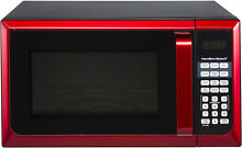 Red Microwave Oven Stainless Steel Home Cooking Cook Kitchen Apt Office Dorm Job