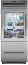 Sub Zero 36  PRO Refrigerator Freezer w Glass Door in Stainless LH  PRO3650G LH