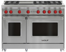 Wolf GR486G 48 Inch Stainless Steel Gas Convection Freestanding Range w Griddle