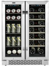 Whynter 24  20 Bottle Wine 60 Can Beverage Cooler Built In French Door Dual Zone