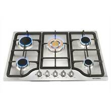 Cooktop   30  5 Burner Stainless Steel NG LPG Gas Cooktop Hob   Gold Bunner