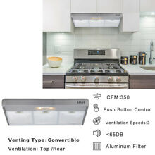 36  Under Cabinet Kitchen Range Hood Stainless Steel Push Button 160W 3 Speed CA