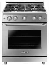 Dacor Heritage HGER30SNG 30 Inch Epicure Gas Range in Stainless Steel 4 Burners