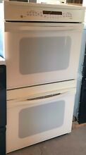 30  GE Profile Almond Double Wall Oven Model  JTP56A0A3AA Used In Good Condition
