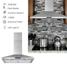 30  Wall Mount Range Hood Stainless Steel Top Vent Filter Touch Control 350 CFM