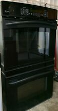 30  Black GE Profile Double Wall Oven Used  In Good Condition Model  JT955B0F4BB