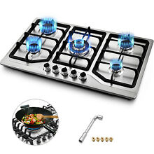 33 8  Gas Hob Gas Cooktop 5Burners LNG LPG Cooker High Heat 110V Stainless Steel