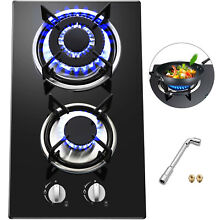 12  2 Burners Tempered Glass Gas Cooktop Gas Hob easy installat LPG
