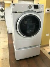 GE GFD45GSSMWW 27 Inch Gas Dryer with Steam Refresh w  13  Tall Pedestal Drawer