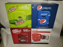 Mountain Dew Dr Pepper Pepsi Coca Cola Mini Fridge 6 Cans Refrigerator New