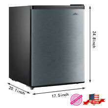 Mini Fridge Small Compact Food Kitchen Home Students 2 4 Cu Ft Stainless Steel
