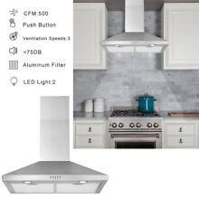 30  Wall Mount Range Hood Stainless Steel Kitchen Exhaust Vent Stove Fan Filter