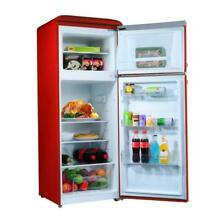 7 6 cu ft  Retro Mini Refrigerator with Dual Door and True Freezer in Red