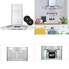 36 in  Ductless Wall Mount Range Hood in Stainless Steel with LED Lighting and C