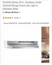 Nutone RL6230SS 30 in  Ductless Under Cabinet Range Hood Light Stainless Steel