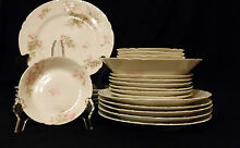 Antique  1900 22 Piece GDA Limoges Partial Dinner Set   Pink   White Flowers