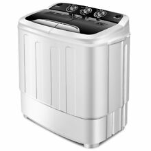 Portable Compact 13 Lbs Mini Twin Tub Washing Machine Washer Spin Dryer  Black