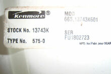 KENMORE 665 13743K01 COMPLETE WATER PUMP AND MOTOR ASSEMBLY
