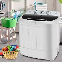 Portable Mini Compact Twin Tub 13lbs Washing Machine Washer Spin Built in Drain
