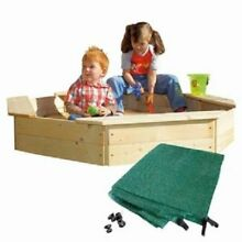 Woodyland 130 x 130 x 27 cm Sandpit with Protecting Cover  Natural