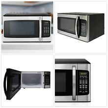 Stainless Steel Microwave Oven 1000W Dorm Room College Cabin Kitchen Silver LED