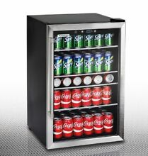 Beverage Center Cooler Glass Doors Wine Refrigerator Soda Beer 126 Can Capacity