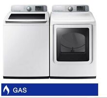 Samsung 5 0CuFt Top Load Washer 7 4CuFt GAS Dryer with Multi Steam Technology