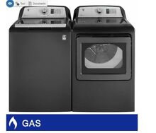 GE Top Load 4 6CuFt Washer and 7 4CuFt GAS Dryer Laundry Package with Deep Fill