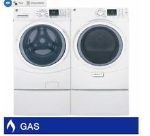 GE 4 5CuFt Washer and 7 5CuFt GAS Dryer Laundry Package with Optional Pedestals