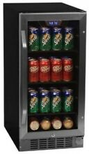 EdgeStar CBR901SG 15 Inch Wide 80 Can Built In Beverage Cooler With Blue LED