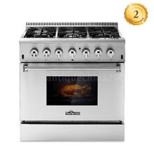 THOR KITCHEN 36  6 Burner Free Standing Stainless Gas Range Electric Oven L6B9