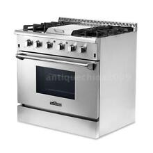 Thor Kitchen 36  4Burner Gas Range Cooker Oven Stainless Steel Freestanding S7C3