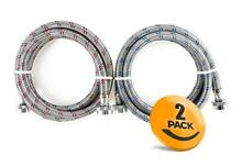 2 Pack Stainless Steel Washing Machine Hoses Burst Proof  6ft Long   Hot and