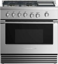 Fisher   Paykel 36  Stainless Professional Gas Range with Griddle    RGV2 364GDN