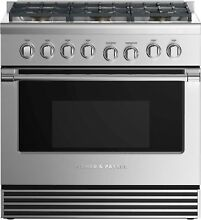 Fisher   Paykel 36in Stainless Pro Gas Range with 6 Burners   RGV2 366NN