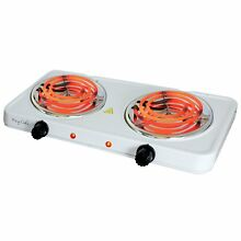 Electric Stove Burner Double Coil Cooker Countertop Cooktop Lightweight White