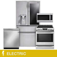 LG 4 piece Induction Slide in ELECTRIC Range with 30CuFt Wi Fi Enabled Door in D