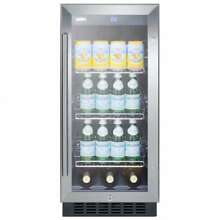 Summit SCR1536BGCS 15 Inch Built In Undercounter Glass Door Beverage Center