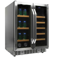 EdgeStar CWB1760FD Stainless Steel 24 W Wine and Beverage Cooler w  French Doors