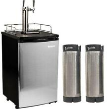 EdgeStar KC2000TWINHBKG 20 Inch Wide Dual Tap Kegerator with Kegs with Home Brew