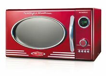 0 9 Cubic Foot 800 Watts Red Retro Countertop Microwave Oven W  12 Cook Settings