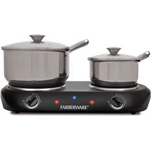 Electric Double Burner 1500 W Cooktop Stove 2 Burners Kitchen Appliance Black