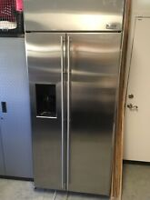 GE Monogram  36  Built In Side by Side Refrigerator with Dispenser  ZISS360DXCSS