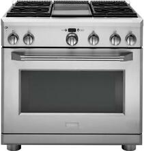 Monogram 36in Dual Fuel Pro Range 4 Burners and Griddle   ZDP364NDPSS