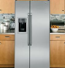 GE Cafe 36  Stainless Steel Counter Depth Side by Side Refrigerator CZS25TSESS