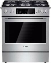 Bosch hdi8054u  30 in  4 6 cu  ft  Slide In Dual Fuel Range with self cleaning